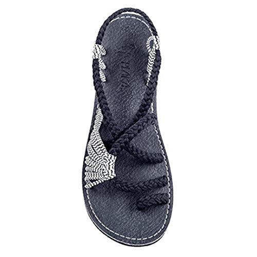 Binkols Sandals for Women Palm Leaf Fashion Cross Criss Patchwork Weave Sandals Shoes White Black ()