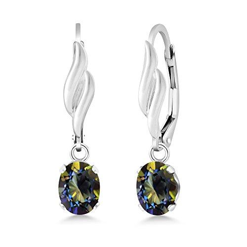 Gem Stone King 1.90 Ct Oval Blue Mystic Topaz 925 Sterling Silver Women's Dangle Earrings