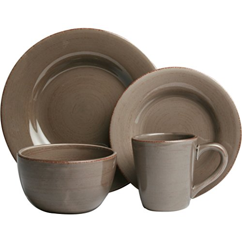 Sonoma 16 Piece Dinnerware Set, Hand painted with distressed strokes (Warm Gray)