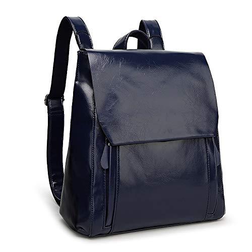 Ladies Rucksack Leather Backpack Student PU Blue Fashion Bag School F1RganF