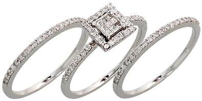 Amazon Com 14k White Gold 3 Piece Wedding Ring Set W 0 60 Carat