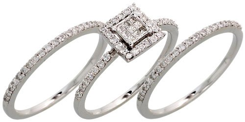 Amazoncom 14k White Gold 3Piece Wedding Ring Set w 060 Carat