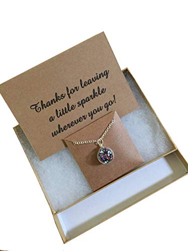 Thank you Gift Glitter Ball Necklace. Hand blown glass globe filled with sparkles layering necklace For those who spread joy wherever they go. Gift Box and Card included.