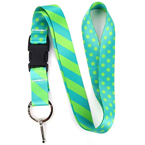 - Buttonsmith Aqua Dots Premium Lanyard - with Buckle and Flat Ring - Made in The USA