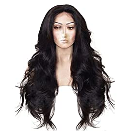 "Anogol Hair Cap+24"" Synthetic Lace Front Wig Long Natural Wavy Black Hair Wigs for Black African Ameican Women Glueless Wigs Heat Resistant Fiber Half Hand Tied for Fancy Dress Wave"