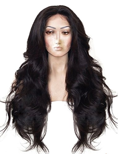 Anogol Hair Cap+24'' Synthetic Lace Front Wig Long Natural Wavy Black Hair Wigs for Black African Ameican Women Glueless Wigs Heat Resistant Fiber Half Hand Tied for Fancy Dress (Womens Fancy Dress Wigs)