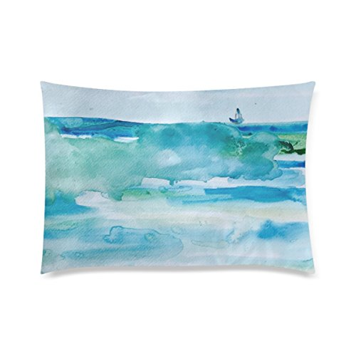 Customized Miami Beach Watercolor Personalized Pillowcases Zippered Pillow Covers 20 by 30 Inches Two (Club 50 Miami Halloween)