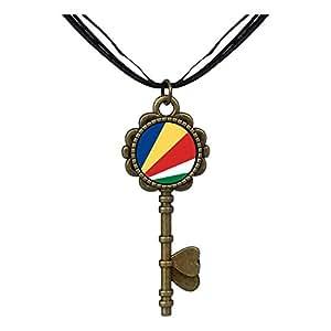 Chicforest Bronze Retro Style Seychelles flag Key to Her Heart Pendant