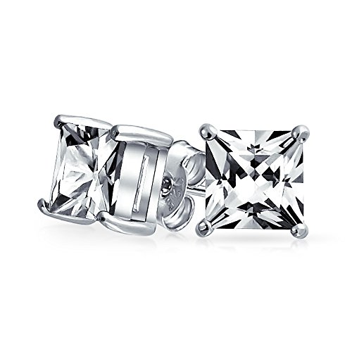 5CT Square Cubic Zirconia Solitaire Princess CZ Cut Stud Earrings 4 Prong Basket Set For Women 925 Sterling Silver 10MM
