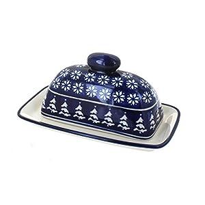 Blue Rose Polish Pottery Winter Nights Butter Dish