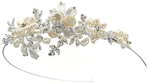 Enchanted Brides' Handcrafted Wedding Headpiece of Elegant Keshi Pearl, Freshwater Pearl Flowers, and Soft Silver Metal Flowers (#98B3fcs)