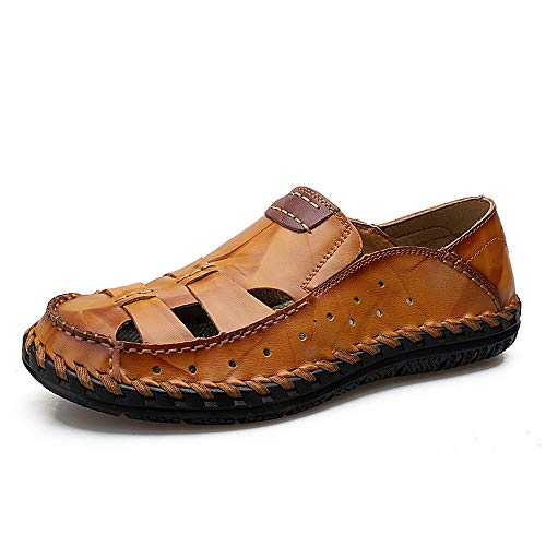 FIVE23 Mens Hand Stitching Outdoor Closed Toe Leather Sandals Beach Water Shoes Yellow Brown ()