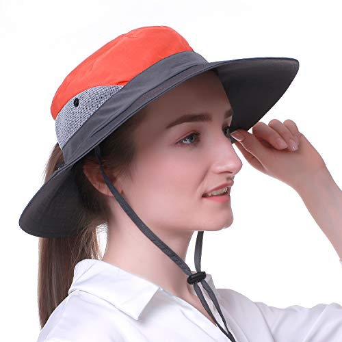 Drawstring Parka - Ordenado Outdoor Sun Hat UV Protection Bucket Mesh Boonie Hat Adjustable Fishing Cap (Red)
