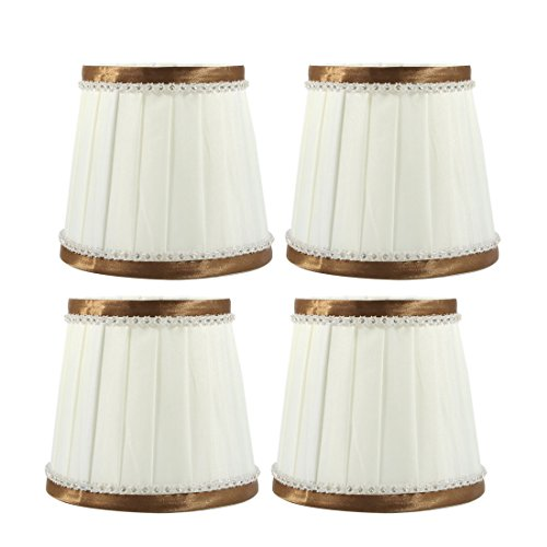 uxcell 4pcs 9cm-12cm Dia 11cm Height Cloth Lamp Cover Shade Lampshade Beige