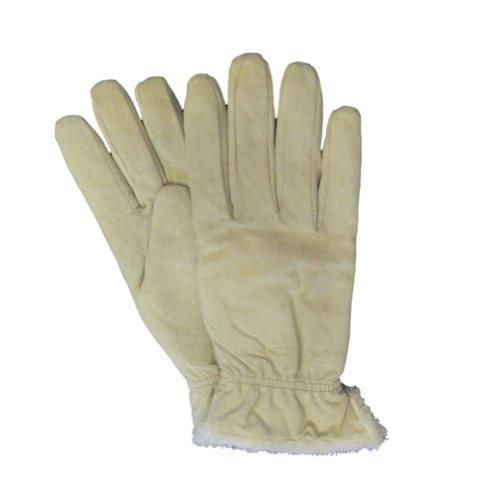 Isotoner Womens Beige Suede Gloves With Gathered Wrists & Microluxe Linings L (Isotoner Womens Suede Gloves With Gathered Wrist)