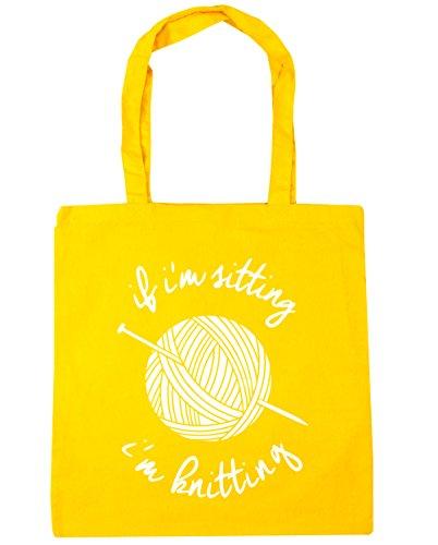 HippoWarehouse If I'm Sitting I'm Knitting Tote Shopping Gym Beach Bag 42cm x38cm, 10 litres Yellow