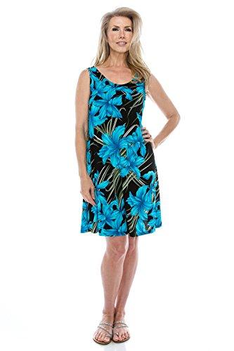 Size Tank Print Women's Stretchy Jostar Plus Dress Made Turquoise In W683 Missy USA 40fayqw
