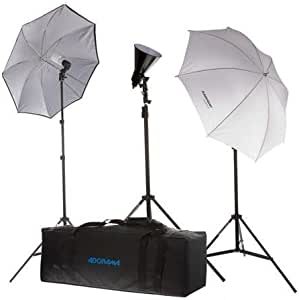 """Flashpoint 3 Light Fluorescent Outfit with Stands, Umbrellas, Bulbs, 6"""" Reflector and Deluxe Case."""
