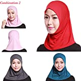 4Pcs Islamic Turban Head Wear Hat Underscarf Hijab Full Cover Muslim Cotton Hijab Cap in 4 Colors (D)