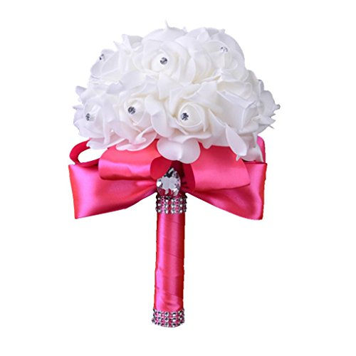 Mikey Store Bridal Artificial Silk Flowers Crystal Roses Pearl Bridesmaid Wedding Bouquet (Hot Pink) - Black Calla Lilly Bouquet