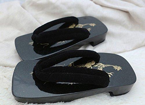 Xing Lin Sandales En Cuir Sandales Hommes DÉté Hommes Arche De Bois Laqué Noir屐Chaussons Pour Les Hommes, 44 Xxl, Flocage Noir