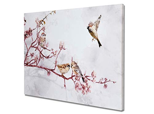 Fox Art Canvas Prints Birds and Flowers Wall Art China Style Oil Paintings Hand Painted Art Prints on Canvas Picture Wall Decor for Living Room Entrance Stretched and Framed Ready to Hang 40x28