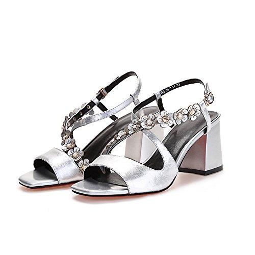altos altos tacones verano Mujer sandalias 37 12CM Silver Moda tacones confortables violeta AnR4UaAqw