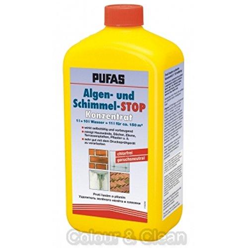 Pufas Algen- und Schimmel-STOP Konzentrat 1 L Fassaden-Reiniger Moos-Entferner Biozid-Produkte vorsichtig verwenden. Vor Gebrauch stets Etikett und Produktinformationen lesen