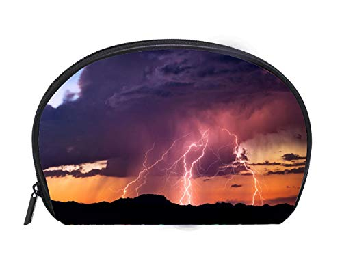 Portable Toiletry Cosmetic Bag Lightning bolts strike from a sunset storm Travel Cosmetic Case Luxury Makeup Artist Bag]()