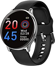 SmartWatch com Monitor Cardíaco, Monitor de Sono e Pressão Sanguínea para iOS e Android,preto/Tiras de silicon