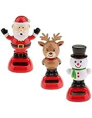 3Pcs Solar Car Dashboard Bobbling Shaking Nodding Toy Snowman Reindeer Santa Claus Bobblehead Toy for Kids Gift Xmas Gift