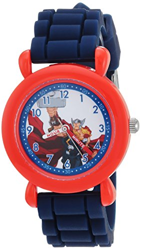 Marvel Boy's 'Avenger' Quartz Plastic and Silicone Casual Watch, Color:Blue (Model: WMA000237)