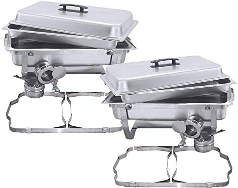 FutureSprout 8 Quart Full Size Stainless Steel Chafer with Folding Frame and Cool-Touch Plastic on top 2 pack