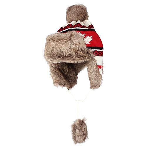 - WITHMOONS Fleece Maple Fair Isle Knit Beanie Hat Earflaps Cap FZ70021 (Red)