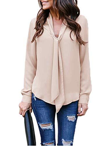 (MARI CIAS Plus Size Loose Casual Chiffon Blouse Pullover Shirt Tunic Top(2XL, Khaki))