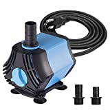 KEDSUM 400GPH Submersible Water Pump(1500L/H,40W), Ultra Quiet Submersible Pump, Fountain Pump-7ft High Lift, 6.6ft Power Cord, 3 Nozzles for Fish Tank, Pond, Aquarium, Statuary, Hydroponics (Tamaño: 400GPH-Blue)