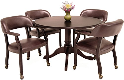 Traditional Round Conference Table and Chairs Set, Conference Meeting Office Room, Mahogany Finish (42'' with 4 Chairs, Burgundy Upholstery) by Office Pope (Image #2)