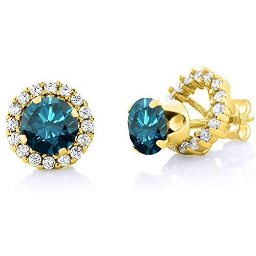 1.60 Ct Round Blue SI1-SI2 Diamond 18K Yellow Gold Plated Silver Stud Earrings from Gem Stone King