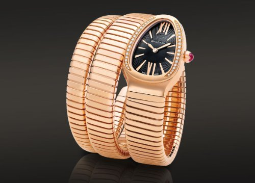 Bvlgari spp35bgdg. 2T 18 K oro rosa cuarzo reloj de pulsera para mujer