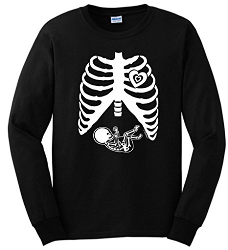 Pregnant Skeleton Baby Maternity Theme Costume Long Sleeve T-Shirt Small Black -