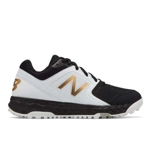 (New Balance Women's Velo V1 Turf Softball Shoe, Black/White, 10 B US)