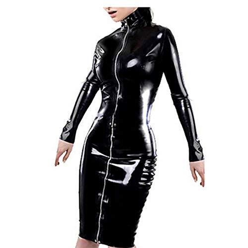 (Xinbeauty Women's Faux Leather PVC Dresses Long Sleeve Zipper Lace Up Midi Sexy Clubwear Nightclub Dresses)
