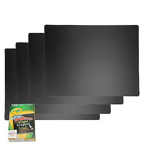 Scribbles Reusable Chalkboard Placemat, Set of 4 with 8ct Washable Dry Erase Crayons