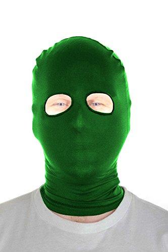 [Marvoll Lycra Spandex Eyes Holes Hood Mask Halloween Costumes (Adults, Green)] (Biker Halloween Costumes For Adults)