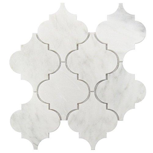 Wallandtile Statuary White 5''x6'' Large Arabesque Waterjet Interlocking Honed Mosaic Tile