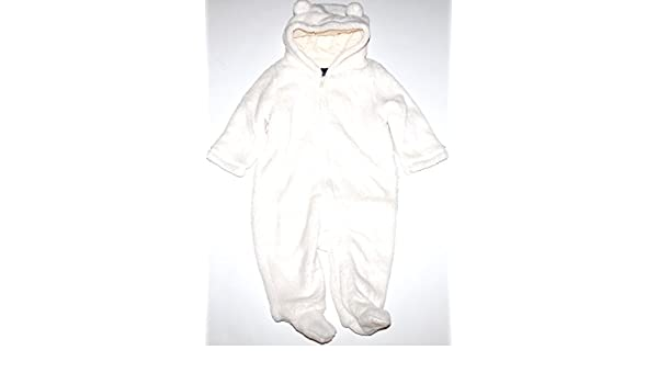 f4285d48d Amazon.com: Baby Gap Infant Boy Girl Ivory Fleece Hooded & Footed Snowsuit  Bunting: Clothing