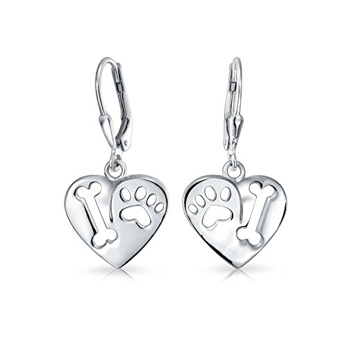 I Love My Dog Heart Shape Cut Out Puppy Bone Animal Lover Paw Print Drop Leverback Earrings 925 Sterling -