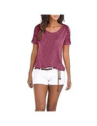 HHmei Women Hollw Cut Out T Shirt Cold Shoulder V Neck Tops Blouse Shirts(S-XXL)