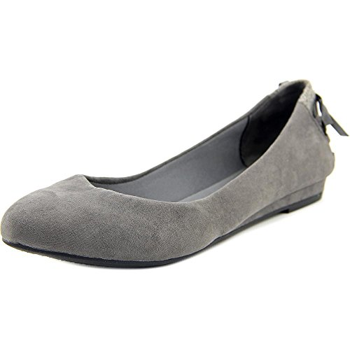 Suede Anna Ballet Grey Womens Toe Microfiber Fergalicious Flats Closed qEwUav5WS