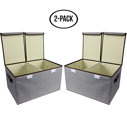 (Simple Haus Designs Large Storage Cubes Gray [2-Pack] Linen Fabric Decorative Storage Box Organizer Containers with Handles Lid Divider for Home, Bedroom, Closet Office, Living Room,)